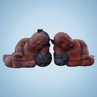 Vintage Chinese Folk Art Wood Carvings - Sleeping Good Luck Children