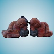 Vintage Chinese Folk Art Wood Carvings - Sleeping Good Luck Children