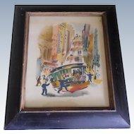 Benjamin Jorj Harris Airbrush Watercolor San Francisco Iconic Cable Car Scene