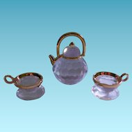 Retired Swarovski Crystal Memories Teapot and Teacups
