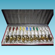 Denmark Sterling Silver Enamel Cased Spoon Set Signed Frigast - 12 Demitasse Spoons
