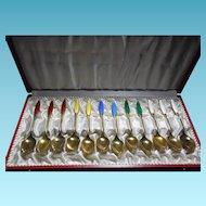 Denmark Sterling Silver Enamel Cased Spoon Set Signed Frigast - 12 Demitasse Spoons