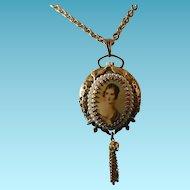Fancy Pendant Watch Signed Norman Deluxe - Victorian Woman - Moving Bezel