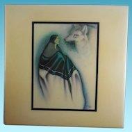 """Vintage Native American Tile - Robert Redbird - The Fox Song 8""""x8"""""""