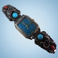 Wristwatch Native American Coral & Turquoise Signed Sterling Silver Tips