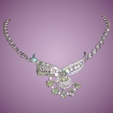 Fancy Vintage Rhinestone Rhodium Plated Necklace Signed Engel Brothers - Sparkly!