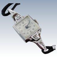 Vintage 14K Gold & Diamond Wristwatch - White Gold Ladies Watch