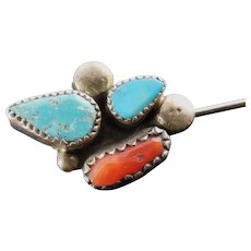 Vintage Native American Stick Pin In Silver With Turquoise & Coral