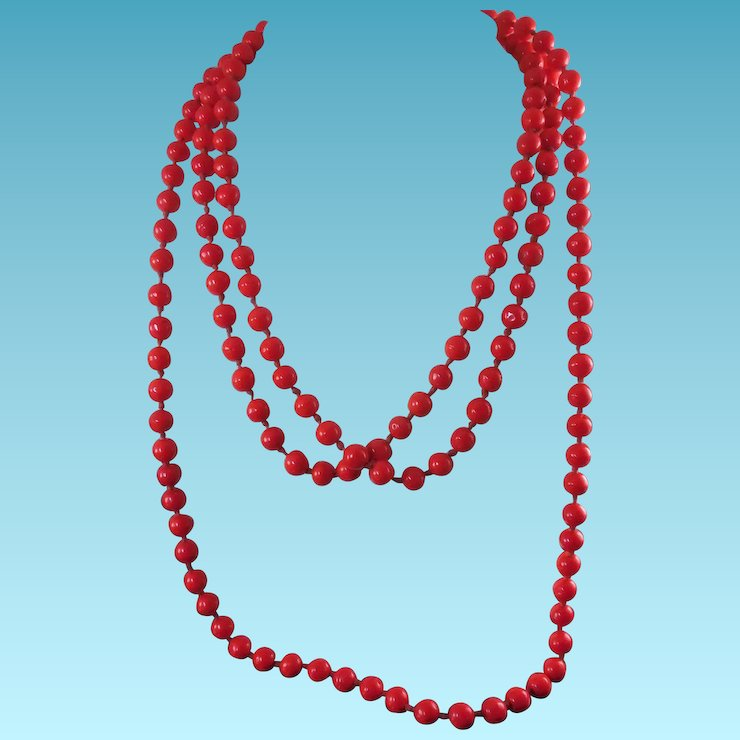 6496fb2aaa1 long red necklace images Antique bright red glass bead necklace long 64  quot knotted jpg