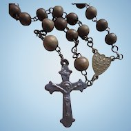 Antique 1800s Wood Bead Rosary With Rare Upside Down Center Medal & Stamped Crucifix