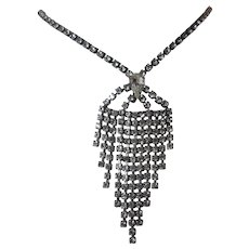 Gorgeous Vintage Rhinestone Waterfall Drop Necklace - Great Holiday Sparkle