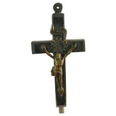 Vintage Ebony Four Saint French Reliquary Crucifix - St Pierre St Paul St Cecile St Agnes