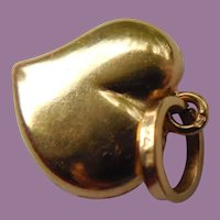 18K Yellow Gold Puffy Valentine Heart Charm or Pendant