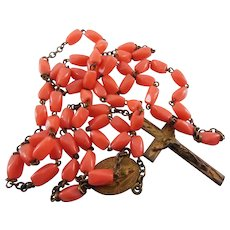 Vintage Rosary - Coral Glass Beads - Hearts On Crucifix