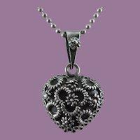 Unusual Heart Pendant - Intricate Design - Sterling Silver Chain