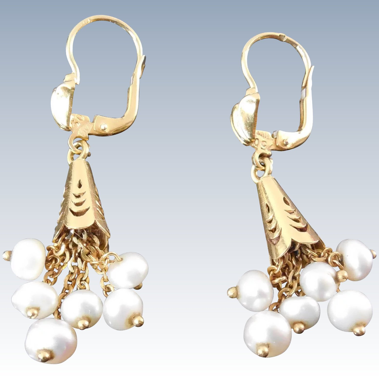 18K Gold Earrings With Pearl Dangles - Marked 750 With Italian ...