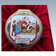 1994 Halcyon Days Enamels Christmas Box - In Original Box With COA
