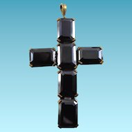 Large Vintage Czechoslovakia Art Glass Cross