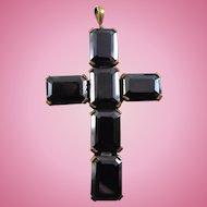 Large Vintage Czechoslovakia Art Glass Cross