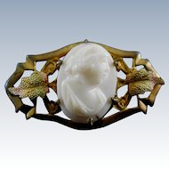 Antique Cameo Brooch With Tri Color Gold Leaves