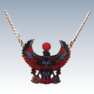 Vintage Egyptian Bird Goddess Enamel Necklace Signed Cloisart