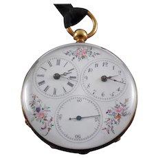 Victorian Dual Time Zone Captain's Pocket Watch - Enamel Flower Dial Circa 1870