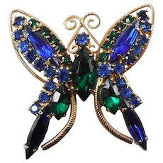 Vintage Butterfly Brooch - Blue and Green Crystal Rhinestones 1960s