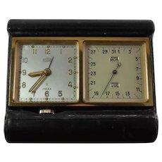Angelus DateClock 8 Day Travel Alarm Clock Leather Case 15J Watch 240 Movement