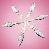 6 Sterling Silver Corn Cob Holders - Shaped Like Corn On The Cob