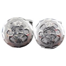 Sterling Silver Mexican Silver Cuff links Sun Face Design - Eagle 19 Jalisco - Signed - Wedding Prom