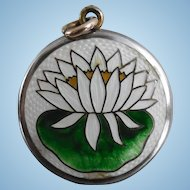 Antique Locket Guilloche Enamel Water Lily, Lotus Flower or Lily Pad Scene
