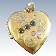 Vintage Gold Filled Locket Heart Shape Engraved Botanical Design Signed HFB