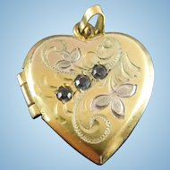 Vintage Gold Filled Locket Heart Shape Engraved Botanical Design Signed HFB