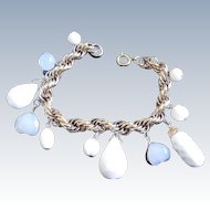 Vintage Charm Bracelet with Milk Glass and Translucent Glass Charms