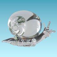 "Signed Licio Zanetti Italian Art Glass Snail Figure - 7"" long x 4.5"" tal"