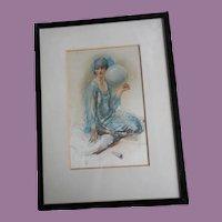 Walter Ernest Webster Art Deco Framed Silkscreen 'Souvenirs'