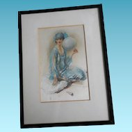 Wall Hanging 'Souvenirs' by Walter Ernest Webster -  Art Deco Framed Silkscreen On Satin