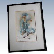 Wall Hanging 'Souvenirs' by Walter Ernest Webster -  Art Deco Framed Silkscreen On Satin
