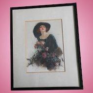 Reginald Pannett 'A Gift' - Edwardian Beauty Framed Silkscreen On Satin
