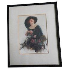 Reginald Pannett 'A Gift' Wall Hanging - Framed Silkscreen On Satin of a Beautiful Edwardian Woman