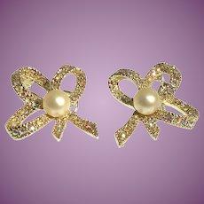 Signed Tara AB Crystal & Faux Pearl Earrings Bow Shaped