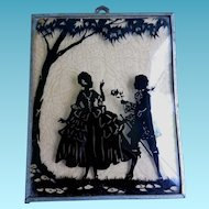 Vintage Silhouette Romantic Courting Couple Wall Hanging Picture with Convex Glass