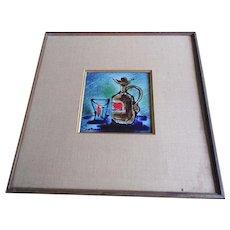 Large Framed Signed Mid Century Modernist Decorative Tile With Bottle & Glass