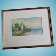 Lighthouse Seascape Watercolor Painting - Signed B? Hamilton
