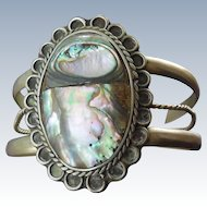 Older Vintage Alapaca Paua Shell Bracelet Made In Mexico Native American Southwest Design
