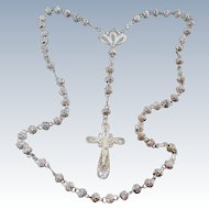 Beautiful Vintage Cannetille Spun Silver Filigree Five Decade Rosary