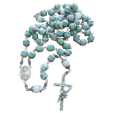 Beautiful Saint Therese Rosary Large Quartz, Glass & Crystal Beads Rose Crucifix