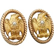 Victorian Era American Eagle Cufflinks Bean Back Cufflinks Eagle & Seed Pearl