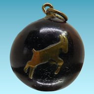 Vintage Deer Eye Pendant with Applied Deer - Said To Be Evil Eye Protection