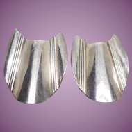 Vintage Sterling Silver Earrings Signed Sucherman SG - Large with Wavy Design